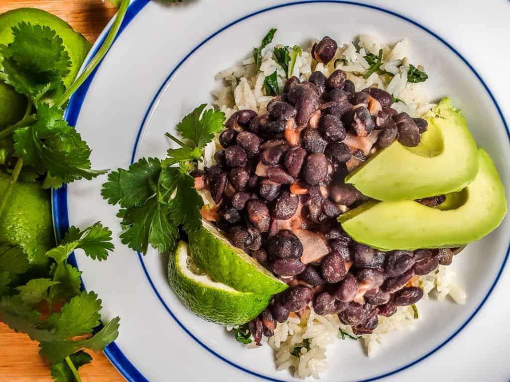 black beans with ciliantro lime rice