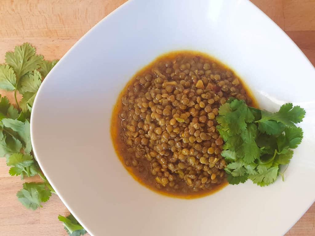 green lentil dahl recipe with coriander
