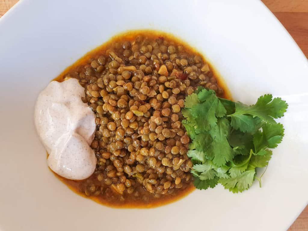 Indian lentil curry - Green Lentil Dhal