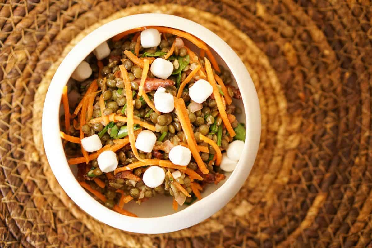 Warm Green French Lentils Salad
