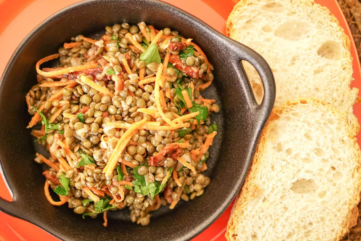 Warm Green French Lentils Salad With Pancetta