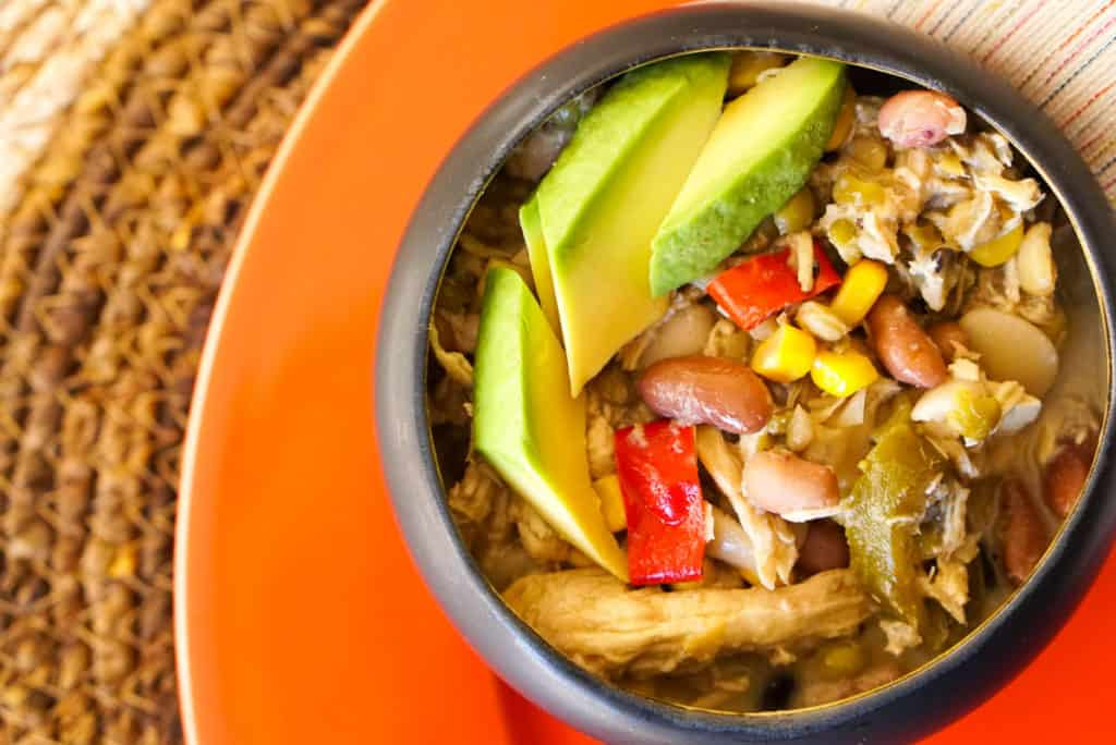 soup with shredded chicken and avocado