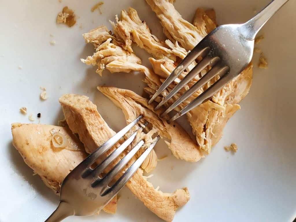 shredding chicken for a stew or soup
