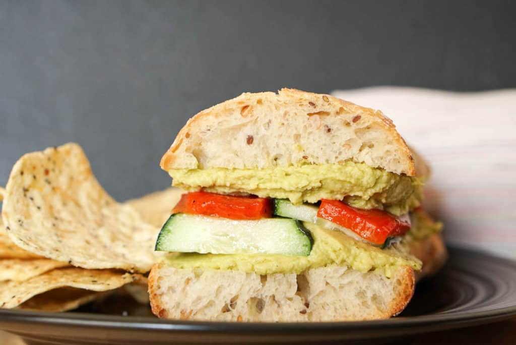 hummus and vegetable sandwich