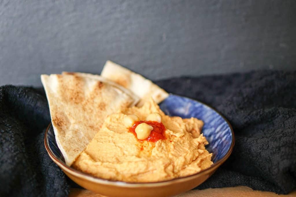 hummus with harissa chili paste