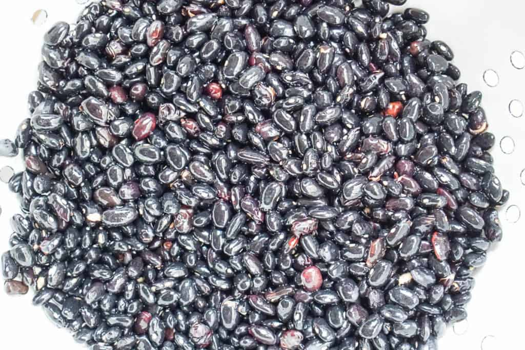 dried black beans that are rinsed and drained