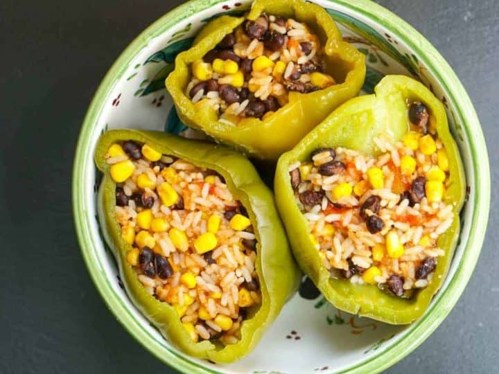 Instant Pot Vegetarian Stuffed Peppers With Black Beans