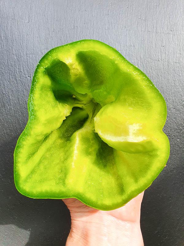 deveining a green pepper