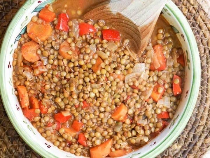 Harissa Vegetarian Moroccan Lentil Stew Recipe