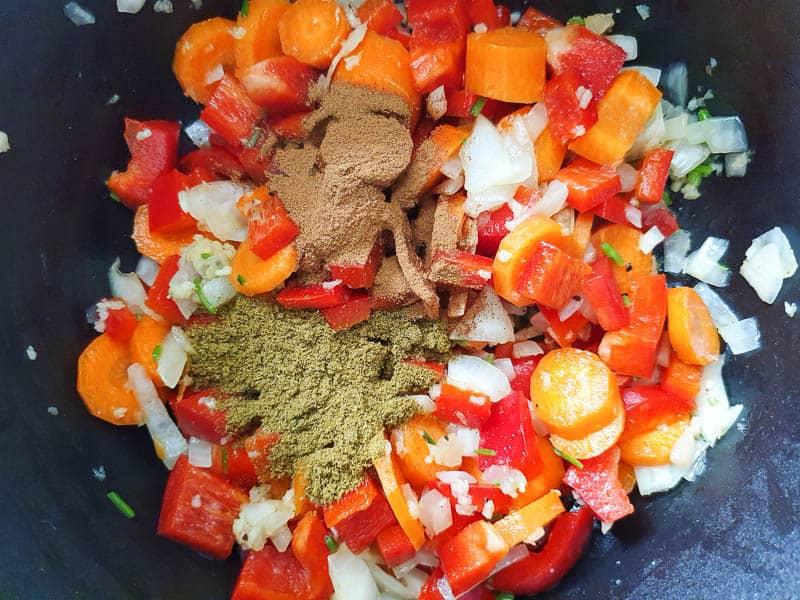 vegetables for lentil stew