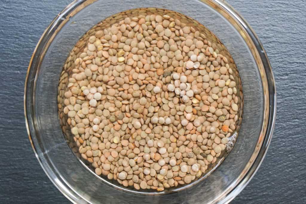 soaking lentils