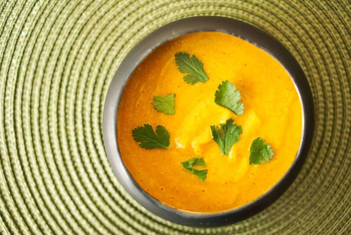 Sweet And Savory Moroccan Pumpkin Soup With Chickpeas