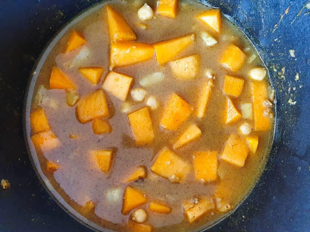 Cooking Moroccan pumpkin soup