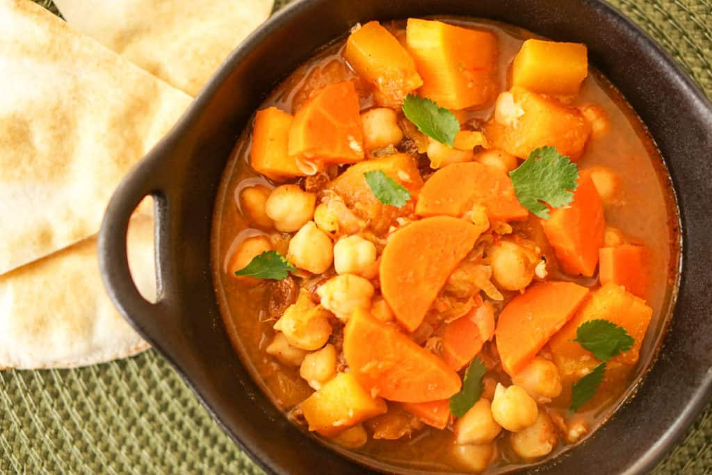 Harissa-Spiked Moroccan Stew With Pumpkin And Chickpeas