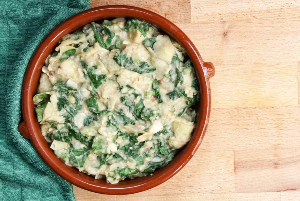 vegan spinach artichoke dip white beans