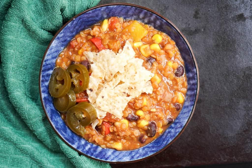 Vegan Southwest Lentil Tortilla Soup