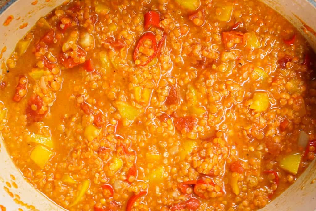 cooking the lentils with vegetable broth