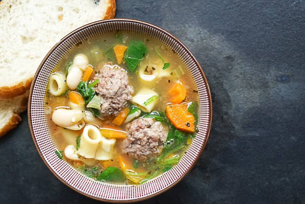 Italian wedding soup with cannellini beans