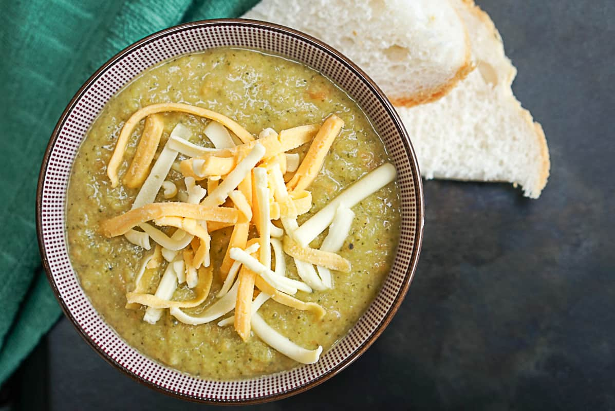 Healthy Broccoli Cheddar Soup With White Beans