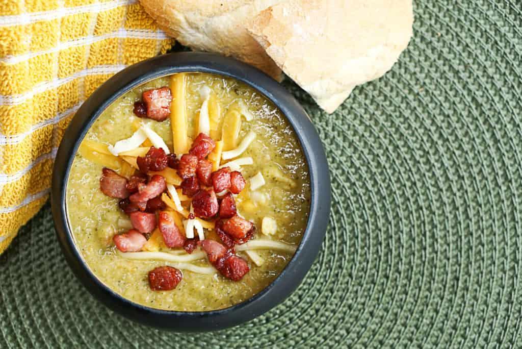 healthy cheddar broccoli soup