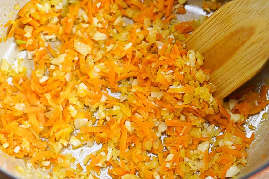 sofrito for lentil and mushroom bolognese