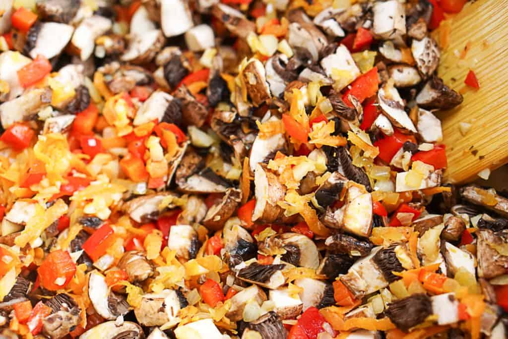 cooking vegan mushroom ragu