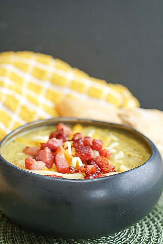 healthy broccoli cheddar soup with pancetta