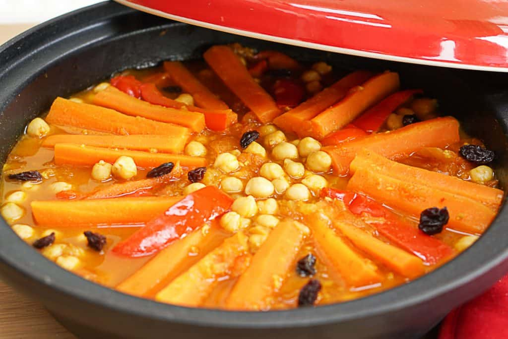 serving a vegan tagine